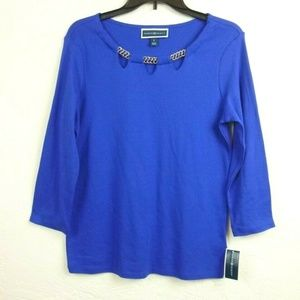 Karen Scott Top size S Blue Cut out Chain Neck